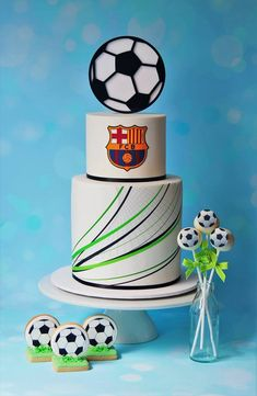 Soccer Cake Ideas - Partyfide - Party Directory Australia The Effective Pictures We Offer You About Football Themed Cakes, Sports Themed Cakes, Soccer Birthday Cakes, 5th Birthday Cake, Soccer Ball Cake, Soccer Cakes, Soccer Party, Chelsea Football Cake, Barcelona Cake