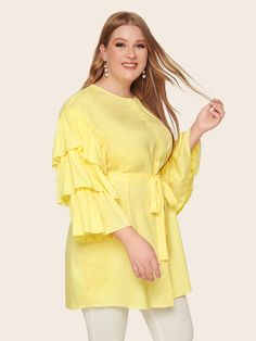 Plus Buttoned Layered Sleeve Belted Shirt Women Clothes For Cheap, Collections, Styles Perfectly Fit You, Never Miss It! Plus Size Blouses, Plus Size Tops, Plus Size Women, Tie Neck Blouse, Printed Blouse, Types Of Sleeves, Fashion News, Vintage Fashion, Clothes For Women