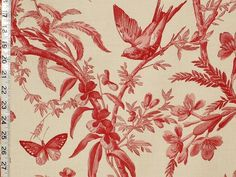 Red toile fabric bird and butterfly fabric at $18.00/yard.