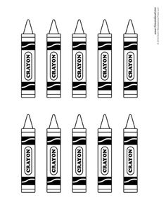 A set of printable crayon templates for decorating classroom bulletin boards.