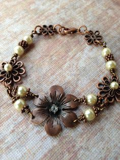 Flower and pearl Bracelet by suzanneshores on Etsy, $27.95