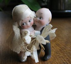 Vintage bisque bride and groom Kewpie dolls by ECLECTICROMANTIC, $65.00