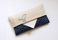 Handmade Fabric Pocket Tissue Holder Handbag Tissue Pouch Kingfishers Debbie Sho