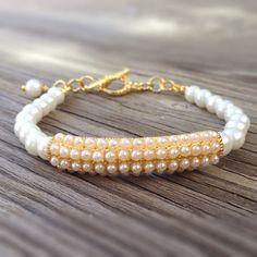 Pearl Bracelet Yellow Gold Jewelry Beaded by jewelrybycarmal, $25.00