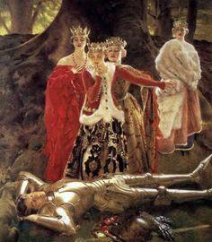 The Four Queens Find Lancelot Sleeping, Frank Cadogan Cowper