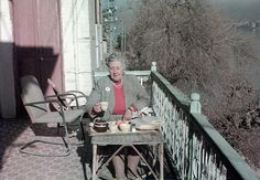 How Archaeology Influenced Agatha Christie   Mental Floss.Agatha Christie enjoying tea on the balcony of the British School of Archaeology in Iraq, Baghdad, 1950s. Image Credit: © The Christie Archive Trust