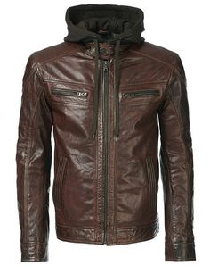 Handmade Men leather jacket men hooded by customdesignmaster, $149.99