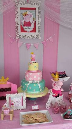 Fantastic cake at a Peppa Pig birthday party! See more party planning ideas at Fiestas Peppa Pig, Cumple Peppa Pig, 4th Birthday Parties, Birthday Bash, Peppa Pig Birthday Cake, Birthday Ideas, Party Decoration, Birthday Decorations, Pig Party