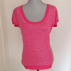 Pretty Boston Proper top This top is so gorgeous and I hate to have to sell it but I've lost weight and I just can't do it justice! Pretty fushia pink top with tons of sparkly clear rhinestones throughout. New with tags and never worn. Perfect to pair with skinny jeans and heels. Tag says size small but I think it runs a tad big so would fit a small and medium just fine. Boston Proper Tops