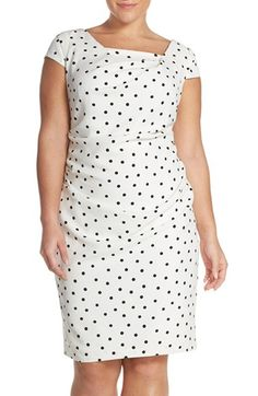 Plus Size Womens Adrianna Papell Polka Dot Crepe Sheath Dress Size 20W - Ivory $140.00 AT vintagedancer.com