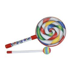 """Remo Lollipop Drum 6"""" with Mallet (Package Of 2) by Remo. $55.55. The smallest of the Lollipop Drums, don't lick it, beat it! Designed and shaped like a lollipop, kids will love to play with this pre-tuned drum. The colorful graphic drum head looks like an old fashion swirled lollipop. Bright red, yellow, green and blue add to the realism. Use this simple drum to teach kids how to count out a rhythm. Light weight and durable, each Lollipop Drum comes with its ..."""