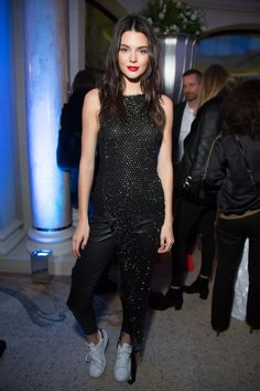 The only thing better than wearing all black? Wearing black AND glitter, like Kendall Jenner.