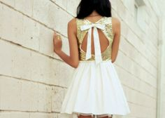 Pretty gold and white dress for summer.