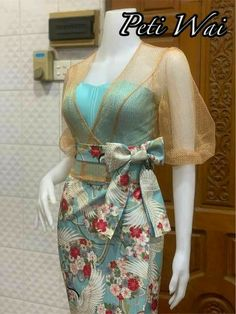Lace Dress Styles, Sleeves Designs For Dresses, African Dresses For Kids, Latest African Fashion Dresses, Traditional Dresses Designs, Myanmar Dress Design, Myanmar Traditional Dress, Batik Fashion, Batik Dress