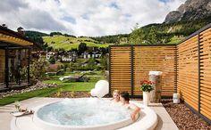At Nives Small Boutique Hotel, Selva di Val Gardena, Italy. Amazing Dolomites view.