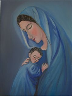 olio su tela Madonna con bambino