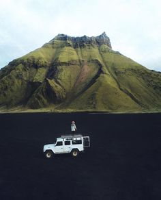 "Asa Steinars || Iceland on Instagram: ""Exploring this black desert that was once underwater. Proves the unique Icelandic nature over and over again. Disclaimer: this is not…"" Iceland Roads, Vacation Captions, Visit Faroe Islands, Road Trip, Destinations, Land Rover Defender, Defender 110, The Great Outdoors, Underwater"