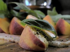 Bacon Wrapped Peaches with Basil & Balsamic Vinegar
