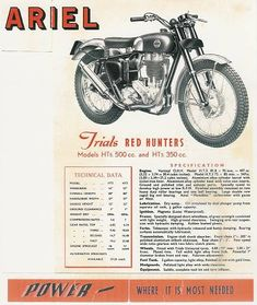Ariel Bsa Motorcycle, Motorcycle Posters, Motocross Bikes, Advertising Ads, Vintage Advertisements, Red Hunter, E 500, Bike Poster, Old Motorcycles