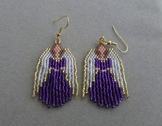 Beaded Angel Earrings in Purple delica beads on Etsy, $20.00