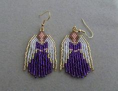 Beaded Angel Earrings in Purple delica beads on Etsy, $20.00