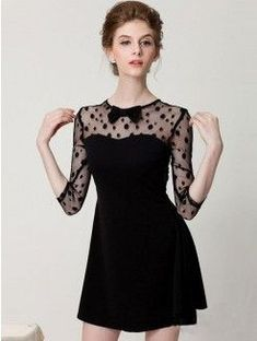 The dress featuring dotted pattern. Semi-sheer mesh at sleeve and back. Round neckline with bowknot. Back zipper.Tips:Perfect outfits Cute Dresses, Beautiful Dresses, Casual Dresses, Short Dresses, Formal Dresses, Mode Rockabilly, Skating Dresses, Lace Dress Black, Mode Style