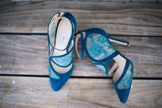 blue wedding shoes - photo by Cambria Grace Photography http://ruffledblog.com/italian-marbling-inspired-beach-wedding