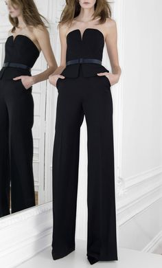 Wide black pants with bustier.