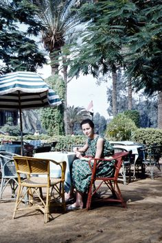 The tea garden at Mena House, circa 1950's