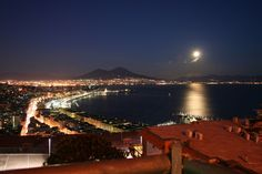 Bay of Naples by night  -  Mount Vesuvius in the background