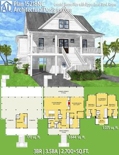 Architectural Designs Coastal House Plan 15218NC gives you 3BR, 3.5BA and over 2,700 sq. ft. of heated living space. Ready when you are. Where do YOU want to build? #15222NC #adhouseplans #architecturaldesigns #houseplan #architecture #newhome  #newconstruction #newhouse #homedesign #dreamhome #dreamhouse #homeplan  #architecture #architect #coastalhouseplan #coasthome #beachhouseplan #beachhomeplan #vacationhousepla