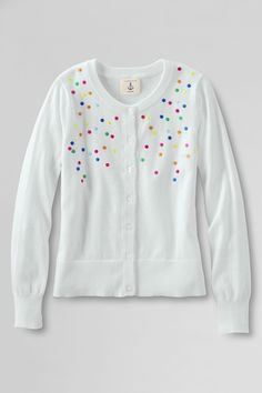 Girls' Sophie Embroidered Dot Cardigan  - White, XL from Lands' End on shop.CatalogSpree.com, your personal digital mall.