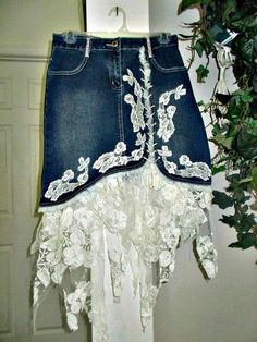 Ruffled lace jean skirt white rose lace vintage lace ruffle stretch denim asymmetrical fairy hem upc