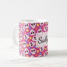 Pretty and Cute Sugar Skulls on Pink Personalized Coffee Mug - flower gifts floral flowers diy
