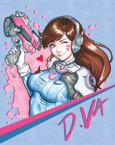 Petra ZemánkováPRO Self-taught amateur fan artist & creative streamer on Twitch D.va from Overwatch Artwork was done by Copic pens live on my stream twitch.tv/tofusenshi Any advices are greatly appreciated! Background was added in Photoshop. Overwatch Video Game, Overwatch Fan Art, Character Drawing, Game Character, Overwatch Females, Video Game Addiction, Overwatch Drawings, Copic Pens, Yandere Simulator
