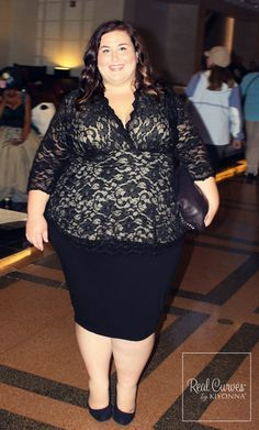 "Blogger Rebecca from theplussideofme.com (5'4"") looked amazing in our plus size Linden Lace Top, don't you agree? #KiyonnaPlusYou #Plussize #Kiyonna"