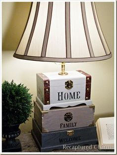 Craft Box Lamp. I AM going to try this. I love the idea of using these little wooden boxes!