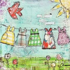 #Mixedmedia #art #painting Clothes Line by Olga Barber