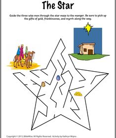 Guide the three wise men through the star maze to the manger. Be sure to pick up their three gifts of gold, frankincense, and myrrh on your way. Preschool Bible Lessons, Bible Crafts For Kids, Bible Activities, Preschool Crafts, Kids Bible, Vbs Crafts, Sunday School Activities, Sunday School Lessons, Sunday School Crafts