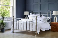 Oh so charming & oh so sophisticated, our Henley Nickel Bed is a true design classic featuring delicate mouldings & globe finials. We adore this nod to enduring tradition. Now with off in our Mid Season Sale! Bedroom Inspo, Bedroom Ideas, Interior Styling, Interior Design, Metal Beds, Bedroom Styles, Timeless Design, Interior Inspiration, House Design