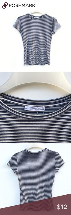 Zara Blue and White Striped Knit Top New without tags and unworn Zara knit striped top. Colors are blue and white. Zara Tops Tees - Short Sleeve