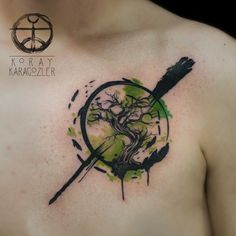 trees watercolor tattoo