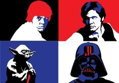 star wars vectors, starwars, darth vader, skywalker, han solo, yoda