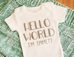 Boy's Hello World Onesie Personalized Bodysuit Baby Boy Gifts For New Moms, New Baby Gifts, Baby Shower Themes, Baby Shower Gifts, Girls Coming Home Outfit, Shower Inspiration, Baby Boy Or Girl, Christmas Baby, Personalized Baby
