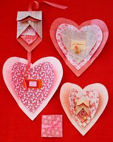Paper Heart Wrappings  - Opening a mysterious gift packet is even more thrilling when the wrapping itself turns out to be a beautiful valentine. Start by selecting decorative papers; origami paper is best because it folds neatly and easily. Other papers can be used, as long as they aren't too heavy or stiff to fold crisply. Also consider double-sided papers, since both sides will be visible.