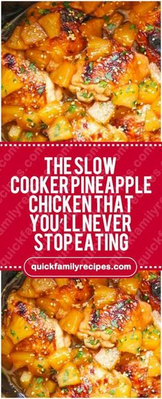 The Slow Cooker Pineapple Chicken That You'll Never Stop Eating #slowcooker #pineapple #chicken #easyrecipe #delicious #foodlover #homecooking #cooking #cookingtips