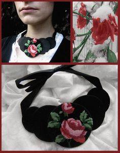 #fashion #necklace #jewelry #style #unique #vintage #retro #fabricsjewelry #accessories #handmade #floral #rose #velvet