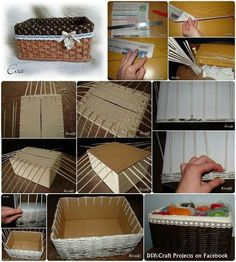 Handwoven DIY newspaper cardboard box basket by maribelDIY Weaving Newspapers for laundry room shelfHow To Make A Box From Newspaper diy craft crafts reuse home decor easy crafts diy ideas diy crafts crafty diy decor craft decorations how to home cra Diy Crafts How To Make, Easy Diy Crafts, Home Crafts, Newspaper Basket, Newspaper Crafts, Diy Craft Projects, Diy Design, Diy Papier, Cardboard Crafts