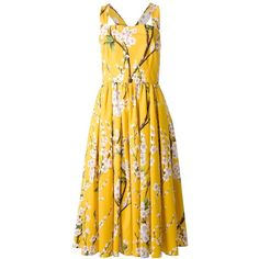 DOLCE & GABBANA floral print dress (€675) ❤ liked on Polyvore featuring dresses, dolce & gabbana, square neck dress, yellow floral dress, yellow pleated dress, zipper back dress and mid length dresses
