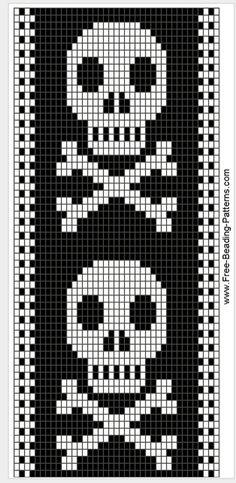 Skull bead pattern, so Hailey. Beading Patterns Free, Bead Loom Patterns, Peyote Patterns, Crochet Patterns, Bracelet Patterns, Cross Stitch Bookmarks, Cross Stitch Charts, Cross Stitch Patterns, Loom Bands